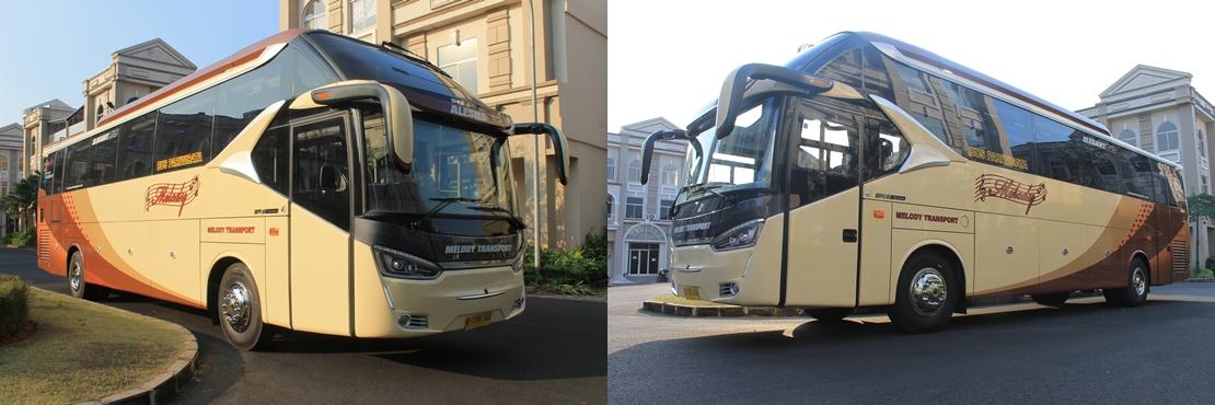 sewa bus pariwisata murah SHD jetbus Melody Transport jakarta bekasi depok tangerang